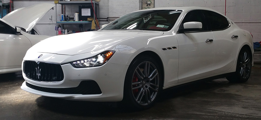 Precision Auto Works of Long Island City Maserati after collision repair work.