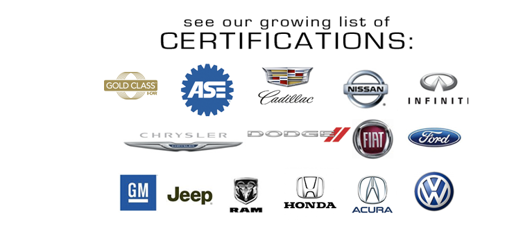 Precision Auto Works of LIC is certified by I-CAR GOLD, ASE, Tesla Motors, Nissan, Infiniti, Ford, GM, Chrysler, Honda, Acura, Cadillac, Jeep and Fiat.